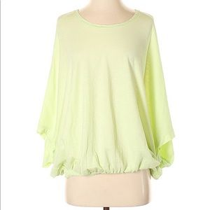 NWT Anthropology green top gathered bottom silky S